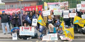Demonstration against a forced academy at St Andrew & St Francis School in Brent