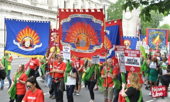 Joint FBU-Justice for Grenfell march on the anniversary of the Grenfell inferno