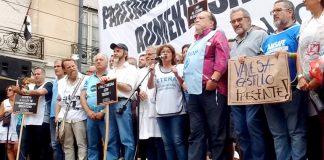 SONIA ALESSO, General Secretary of CTERA addressing a rally