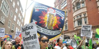 Survivors, their supporters and the FBU march to demand the truth about the causes of the Grenfell inferno