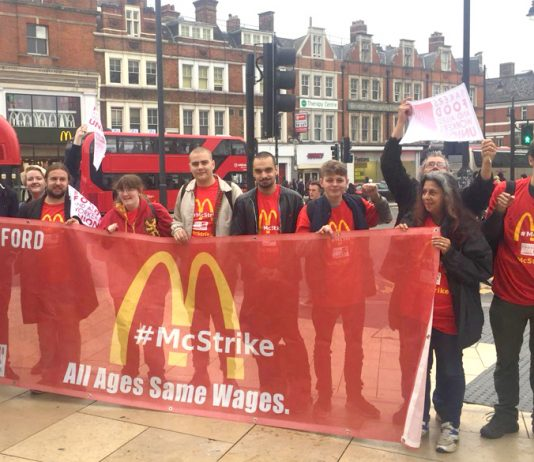 The lively early morning picket at McDonald's in Brixton, southwest London, demanding equal pay for young and older workers