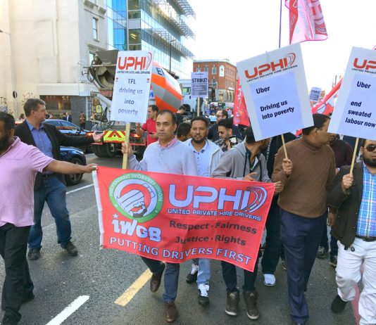 One hundred and fifty Uber drivers and supporters at their strike rally yesterday