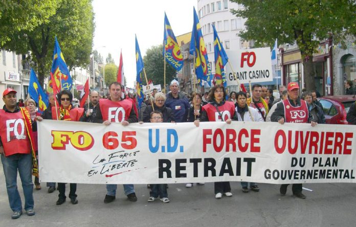 Striking French works on a demonstration against the attack on their pensions being carried out by the Macron government