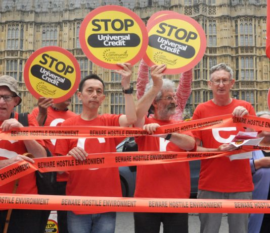 Demonstration outside Parliament against the Tories' Universal Credit and their 'hostile environment'