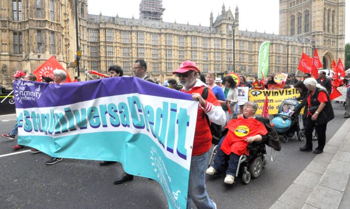 Demonstration outside Parliament against Universal Credit