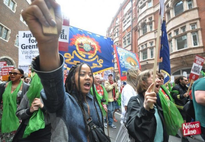 Local residents joined the FBU/Justice for Grenfell march last June – soil in the area around the Grenfell Tower has been found to be toxic