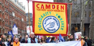 Teachers marching in London against forced academisation of schools