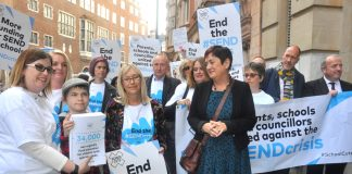 NEU joint general secretary MARY BOUSTED (centre) leads a delegation of six unions, parents, pupils and councillors to present a petition demanding proper funding for Special Educational Needs and Disability pupils to the Department of Education