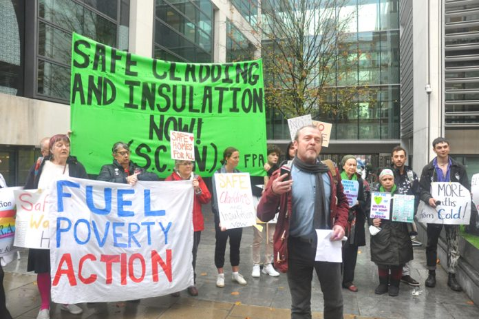 Protest demanding safe insulation and cladding – Grenfell families forced onto UC now face the prospect of not being able to heat their homes