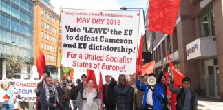 Young Socialists on May Day 2016 calling for a vote to leave the EU – the result lead to then-Prime Minister Cameron resigning