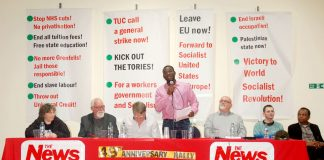 Platform: (L-R) KAREN MENPES (GMB cab drivers), DAVE WILTSHIRE (WRP Central  Committee) FRANK SWEENEY (Chair) JOSHUA OGUNLEYE (WRP General Secretary) GARY PALMER (GMB Southern Region) JONTY LEFF (News Line Editor) MOHAMED BARRY (Ridley Road indoor market