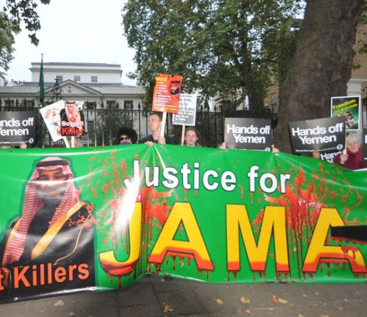 Demonstration outside the Saudi embassy in London on October 25th demanding the killers of Jamal Khashoggi be arrested and for UK to stop arming Saudi Arabia