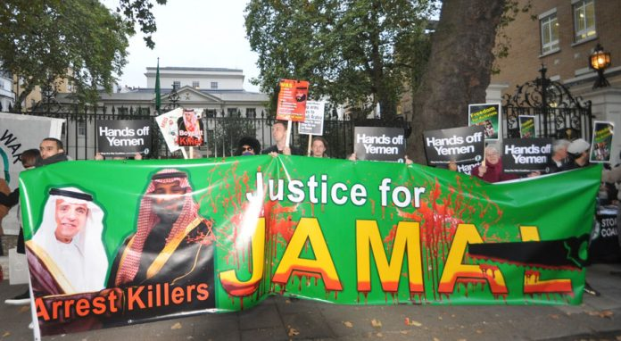 London demonstration against Saudi murder of jounalist Khashoggi and war in Yemen