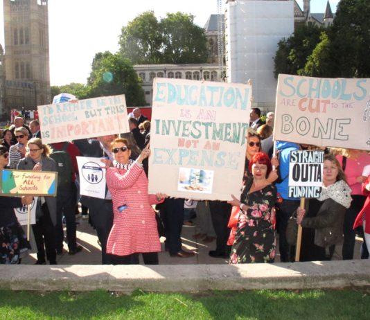 Head teachers on a demonstration in London demanding more funding for schools