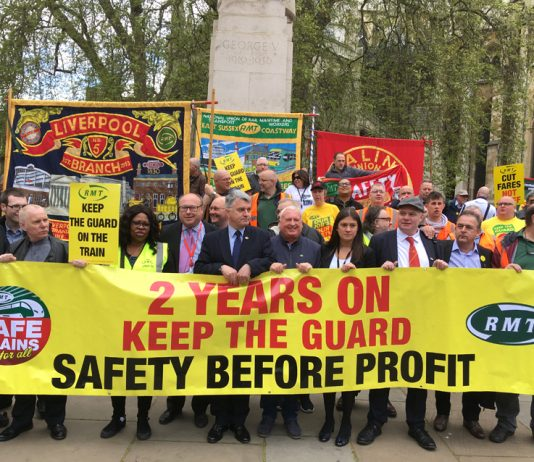 Rail workers celebrating two years of their strike to keep guards on the trains – out on Northern Rail today