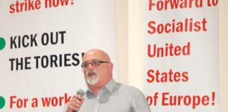 GARY PALMER addressing the News Line Anniversary Rally on November 4th