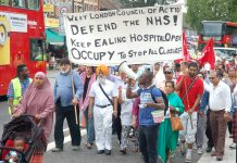 Demonstration in Southall in July 2015 to stop the closure of the Maternity Department at Ealing Hospital – maternity closures have contributed to greater numbers of mothers and babies dying during childbirth