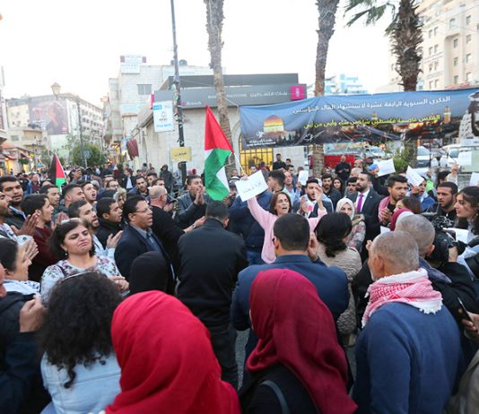 Palestinians rally in Ramallah in solidarity with Gaza after the Israeli bombardment