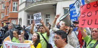 Assange supporters demonstrating outside the Ecuadorian embassy in London against attempts to extradite Julian Assange