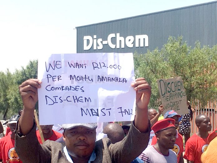 Workers at Dis-Chem are demanding a R12,000 salary increase and that the company recognise their Nupsaw union