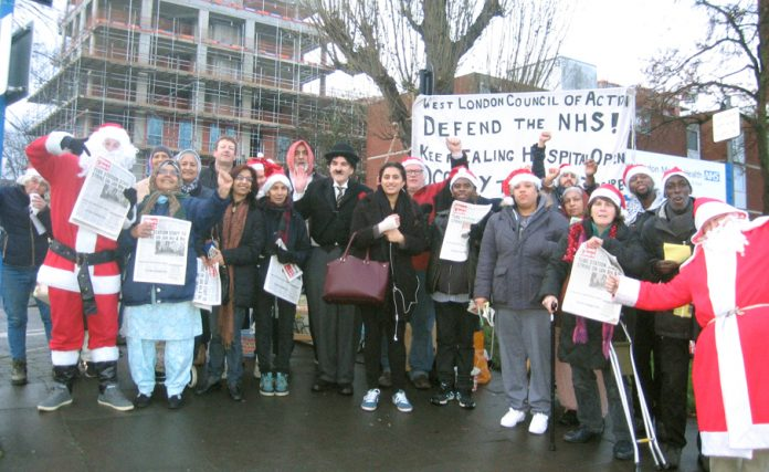 Ealing Hospital Christmas picket – the hospital's Charlie Chaplin Children's Ward is one of many paediatric departments closed around the country