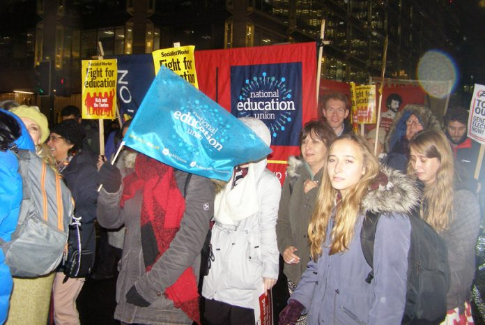 A section of the determined 1,000-strong march to the Department for Education