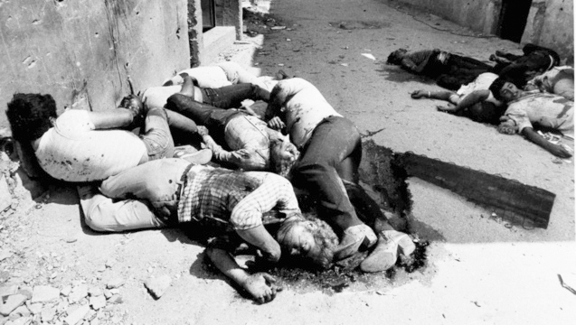 Bodies of some of the large numbers of Palestinians slain in the Sabra and Shatila refugee camp in 1982 in Lebanon by Phalangists who were allowed into the camp by Israeli soldiers, the same year as an Israeli submarine sank a Lebanese refugee ship