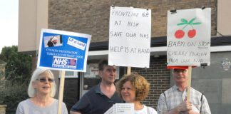Protest in Fulham against the Babylon, GP at hand, the online service which is undermining local general practices
