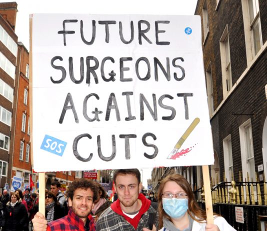 Young doctors with a clear message on NHS cuts and privatisation
