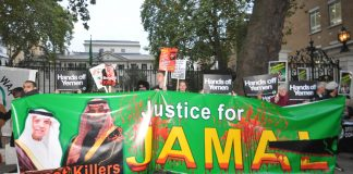 Demonstration outside the Saudi embassy in London after the murder of Jamal Khashoggi