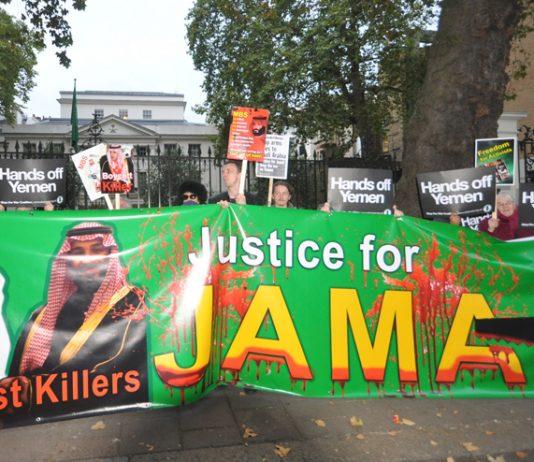 Demonstration outside the Saudi embassy in London after the murder of Jamal Khashoggi