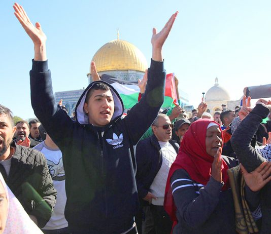 Palestinians demonstrate in Jerusalem against US president Trump after he announced the moving of the US embassy to Jerusalem