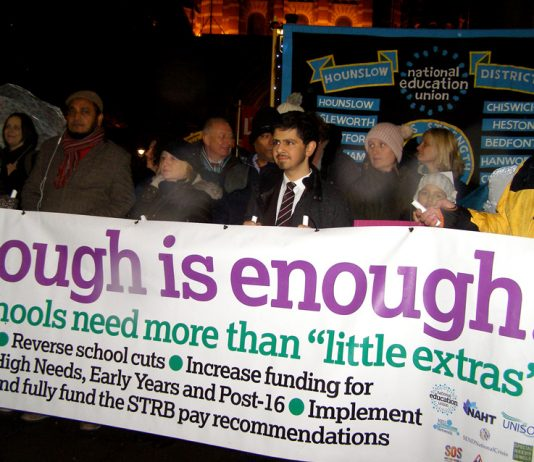 Teachers on a demonstration against the cuts in education being carried out by the Tory government of Prime Minister May