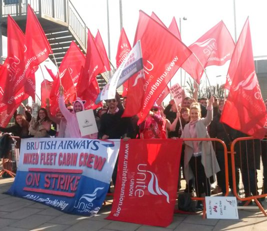 Unite members on the picket line at British Airways – joint action along with BALPA and GMB is threatened over pay