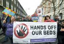 Hospital workers demanding no bed cuts in the NHS