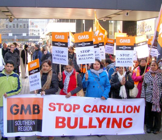 Carillion workers at the Great Western Hospital in Swindon during their strike action against Carillion bullying
