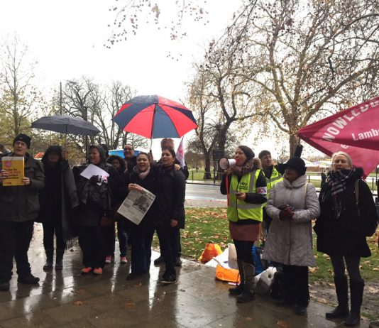 Striking lecturers at Lambeth College in Clapham. Now another 26 colleges are balloting to strike