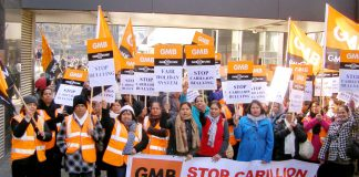 GMB Carillion members on strike at the Great Western Hospital in Swindon – unions are calling for all contracts to be brought back in-house