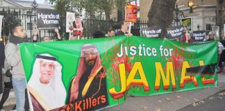 Protest outside the Saudi embassy in London demanding the killers of Jamal Khashoggi be put on trial