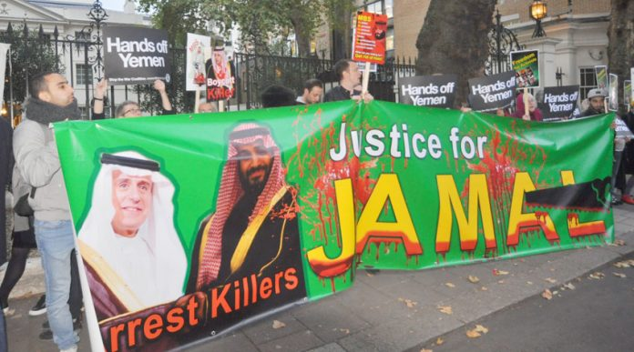 Protest outside the Saudi embassy in London demanding the killers of Jamal Khashoggi be put on trial