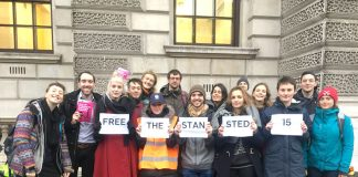 Campaigners for the release of the Stansted 15 –  convicted of 'terrorism offences' they now face lengthy prison sentences for non-violent defence of refugees