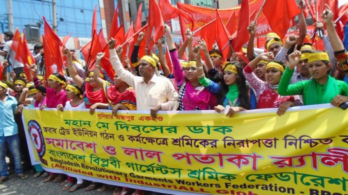 Garment workers on a demonstration in Bangladesh