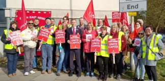 Capita Unite members during a strike in Reading – the BMA doctors' union has called for Capita to be stripped of its NHS contract after 3,500 women did not receive their cervical screening letters