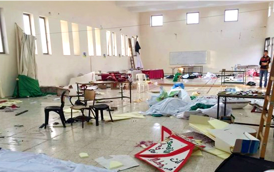Wreckage in the al-Quds University campus caused by raiding Israeli troops