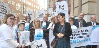 MARY BOUSTED leads a protest of teachers and pupils demanding more funding for pupils special needs – many more are in poverty