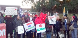 Teachers and support staff on strike against becoming an academy at The Village School in Brent