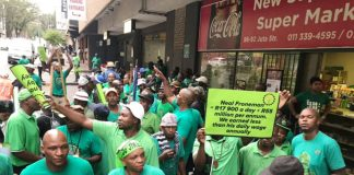 AMCU members on strike outside the Labour Court in Johannesburg on Wednesday