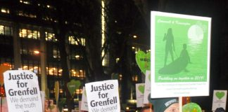 A section of last Friday's Silent March demanding justice for the victims of Grenfell – fire safety inspections have plummeted during the last seven years