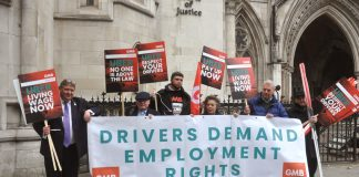 GMB members demonstrate outside the High Court as their case against UBer is heard in October this year