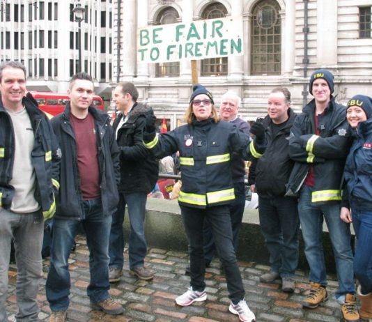 Striking firefighters in Trafalgar Square at the beginning of their pension campaign in February 2015